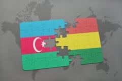 raadsel met de nationale vlag van azerbaijan en Bolivië op een wereldkaart Royalty-vrije Illustratie