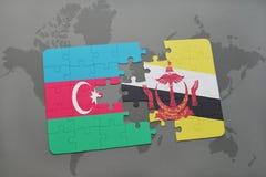raadsel met de nationale vlag van azerbaijan en Brunei op een wereldkaart Stock Illustratie