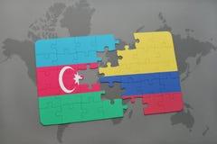raadsel met de nationale vlag van azerbaijan en Colombia op een wereldkaart Stock Illustratie