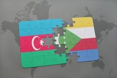 raadsel met de nationale vlag van azerbaijan en de Comoren op een wereldkaart Vector Illustratie