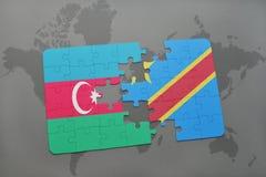 raadsel met de nationale vlag van azerbaijan en democratische republiek van de Kongo op een wereldkaart Stock Illustratie