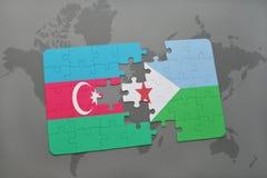 raadsel met de nationale vlag van azerbaijan en Djibouti op een wereldkaart Stock Illustratie