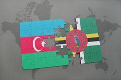 raadsel met de nationale vlag van azerbaijan en dominica op een wereldkaart Stock Illustratie