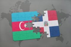 raadsel met de nationale vlag van azerbaijan en Dominicaanse republiek op een wereldkaart Vector Illustratie