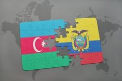 raadsel met de nationale vlag van azerbaijan en Ecuador op een wereldkaart Vector Illustratie