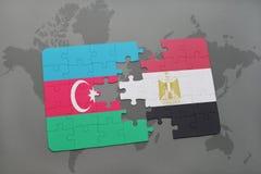raadsel met de nationale vlag van azerbaijan en Egypte op een wereldkaart Vector Illustratie