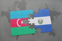 raadsel met de nationale vlag van azerbaijan en El Salvador op een wereldkaart Royalty-vrije Illustratie