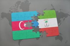 raadsel met de nationale vlag van azerbaijan en equatoriaal Guinea op een wereldkaart Royalty-vrije Illustratie