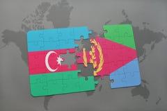 raadsel met de nationale vlag van azerbaijan en Eritrea op een wereldkaart Stock Illustratie
