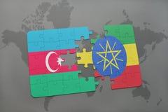 raadsel met de nationale vlag van azerbaijan en Ethiopië op een wereldkaart Vector Illustratie