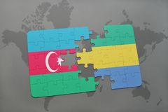 raadsel met de nationale vlag van azerbaijan en Gabon op een wereldkaart Stock Illustratie