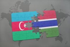 raadsel met de nationale vlag van azerbaijan en Gambia op een wereldkaart Royalty-vrije Illustratie