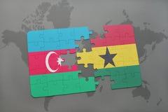 raadsel met de nationale vlag van azerbaijan en Ghana op een wereldkaart Stock Illustratie