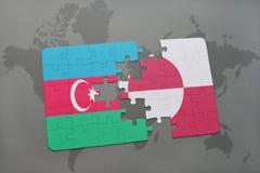 raadsel met de nationale vlag van azerbaijan en Groenland op een wereldkaart Stock Illustratie