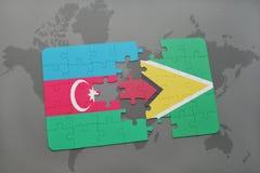 raadsel met de nationale vlag van azerbaijan en Guyana op een wereldkaart Royalty-vrije Illustratie