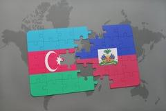 raadsel met de nationale vlag van azerbaijan en Haïti op een wereldkaart Royalty-vrije Illustratie