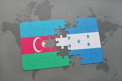 raadsel met de nationale vlag van azerbaijan en Honduras op een wereldkaart Royalty-vrije Illustratie