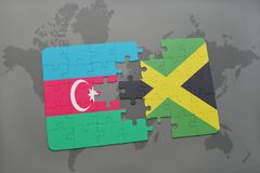 raadsel met de nationale vlag van azerbaijan en Jamaïca op een wereldkaart Vector Illustratie
