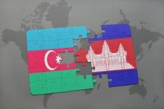 raadsel met de nationale vlag van azerbaijan en Kambodja op een wereldkaart Vector Illustratie