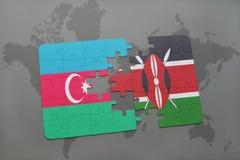 raadsel met de nationale vlag van azerbaijan en Kenia op een wereldkaart Vector Illustratie