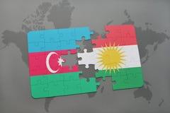 raadsel met de nationale vlag van azerbaijan en Koerdistan op een wereldkaart Royalty-vrije Illustratie