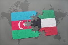 raadsel met de nationale vlag van azerbaijan en Koeweit op een wereldkaart Vector Illustratie