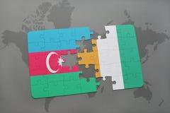 raadsel met de nationale vlag van azerbaijan en kooi divoire op een wereldkaart Royalty-vrije Illustratie