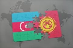 raadsel met de nationale vlag van azerbaijan en Kyrgyzstan op een wereldkaart Royalty-vrije Illustratie