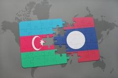 raadsel met de nationale vlag van azerbaijan en Laos op een wereldkaart Royalty-vrije Illustratie