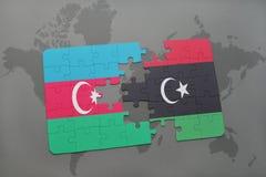 raadsel met de nationale vlag van azerbaijan en Libië op een wereldkaart Vector Illustratie