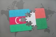 raadsel met de nationale vlag van azerbaijan en Madagascar op een wereldkaart Stock Illustratie