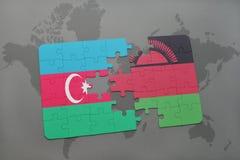 raadsel met de nationale vlag van azerbaijan en Malawi op een wereldkaart Royalty-vrije Illustratie