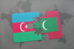 raadsel met de nationale vlag van azerbaijan en de Maldiven op een wereldkaart Stock Illustratie