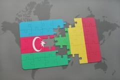 raadsel met de nationale vlag van azerbaijan en Mali op een wereldkaart Stock Illustratie