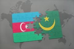 raadsel met de nationale vlag van azerbaijan en Mauretanië op een wereldkaart Stock Illustratie
