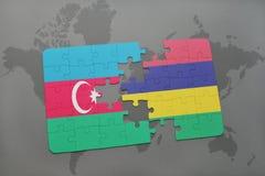 raadsel met de nationale vlag van azerbaijan en Mauritius op een wereldkaart Vector Illustratie