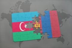 raadsel met de nationale vlag van azerbaijan en Mongolië op een wereldkaart Vector Illustratie