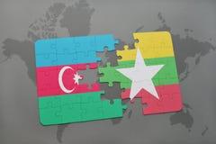 raadsel met de nationale vlag van azerbaijan en myanmar op een wereldkaart Stock Illustratie