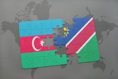 raadsel met de nationale vlag van azerbaijan en Namibië op een wereldkaart Vector Illustratie