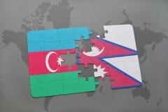 raadsel met de nationale vlag van azerbaijan en Nepal op een wereldkaart Vector Illustratie