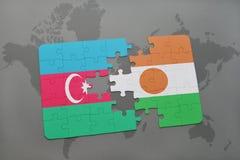 raadsel met de nationale vlag van azerbaijan en Niger op een wereldkaart Vector Illustratie