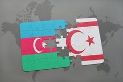 raadsel met de nationale vlag van azerbaijan en noordelijk Cyprus op een wereldkaart Royalty-vrije Illustratie