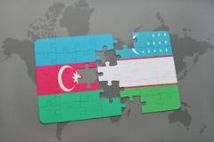 raadsel met de nationale vlag van azerbaijan en Oezbekistan op een wereldkaart Vector Illustratie