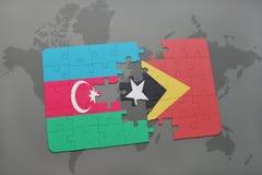 raadsel met de nationale vlag van azerbaijan en Oost-Timor op een wereldkaart Vector Illustratie
