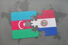 raadsel met de nationale vlag van azerbaijan en Paraguay op een wereldkaart Stock Illustratie