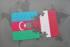 raadsel met de nationale vlag van azerbaijan en Peru op een wereldkaart Stock Illustratie