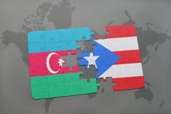 raadsel met de nationale vlag van azerbaijan en Puerto Rico op een wereldkaart Royalty-vrije Illustratie