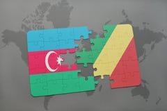 raadsel met de nationale vlag van azerbaijan en republiek van de Kongo op een wereldkaart Stock Afbeeldingen