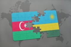 raadsel met de nationale vlag van azerbaijan en Rwanda op een wereldkaart Vector Illustratie