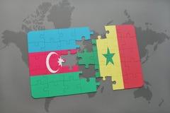 raadsel met de nationale vlag van azerbaijan en Senegal op een wereldkaart Royalty-vrije Illustratie